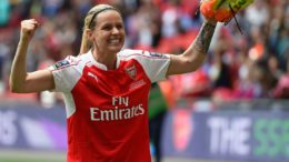 LONDON, ENGLAND - MAY 14:  Kelly Smith of Arsenal Ladies celebrates after winning the SSE Women's FA Cup Final between Arsenal Ladies and Chelsea Ladies at Wembley Stadium on May 14, 2016 in London, England. (Photo by Tom Dulat - The FA/The FA via Getty Images).  (Photo by Tom Dulat - The FA/The FA via Getty Images)